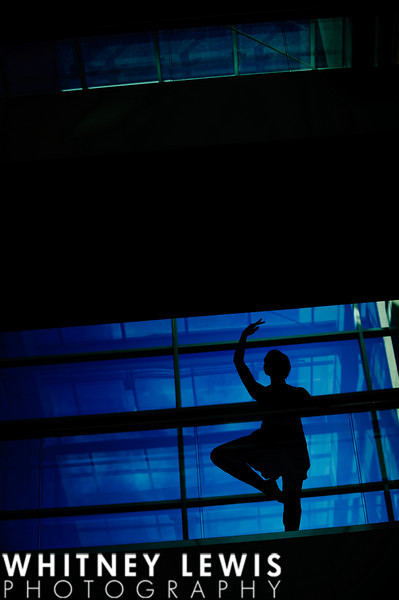 silhouette, glass, blue, dance