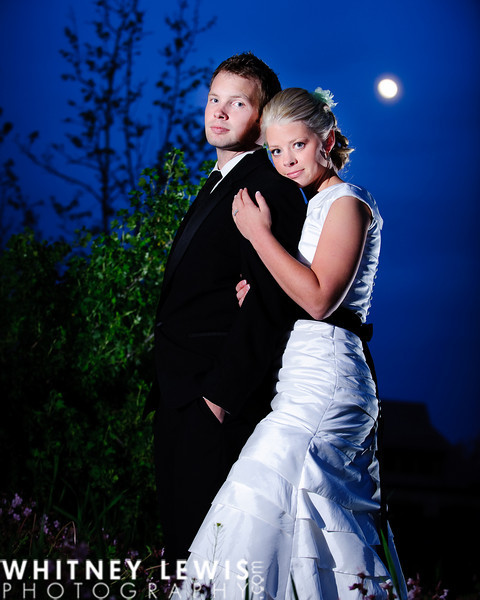 flash photography, moon in the background, bridals