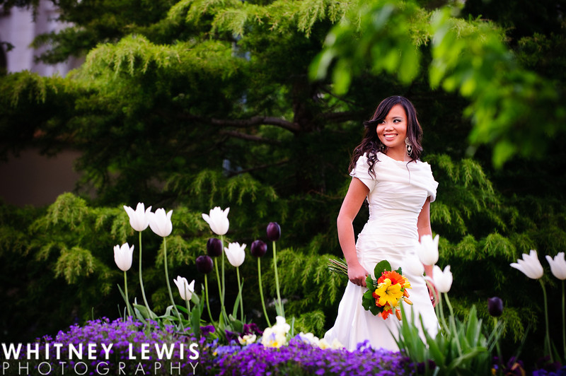 nature, tulips, green trees, smiling bride, full length shot