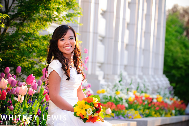 marble pillars, laughing bride, colorful bouquet, tulips