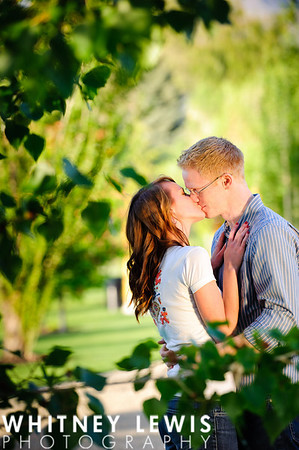 green leaves, kissing, tender moment