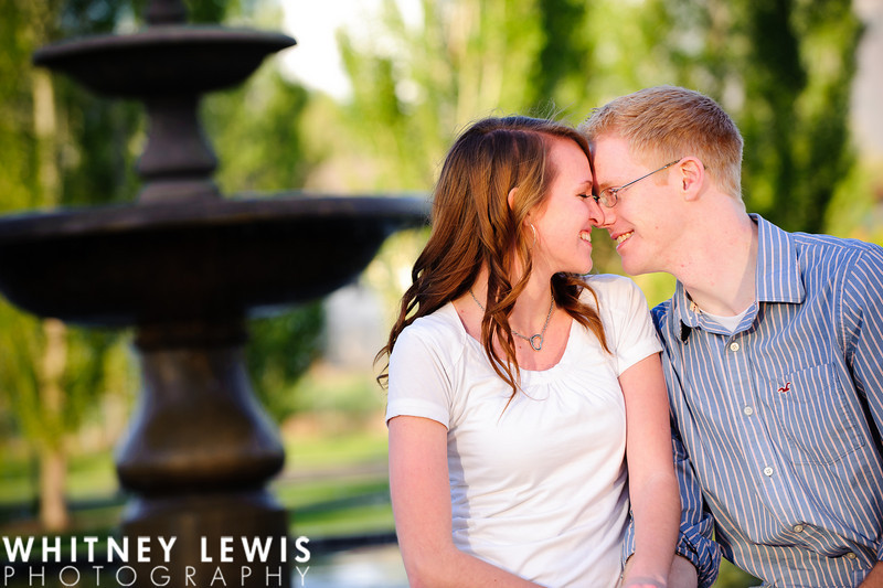 about to kiss in front of the fountain, Neilson's Grove Park