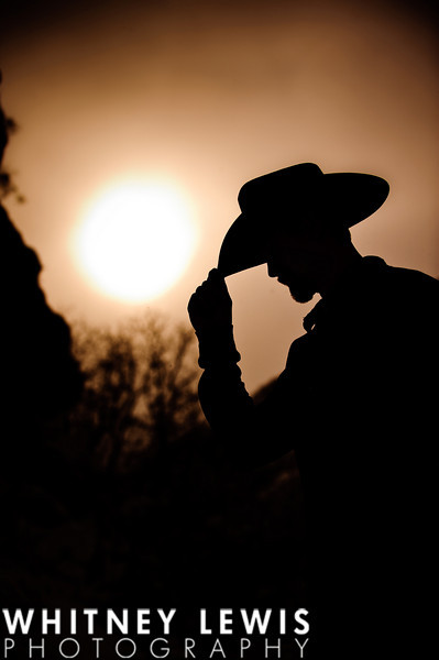 silhouette, hat, cowboy, sunset