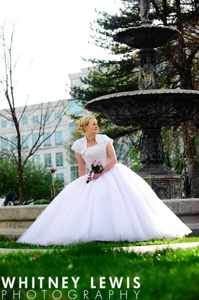 old fountain, wedding dress, downtown Salt Lake