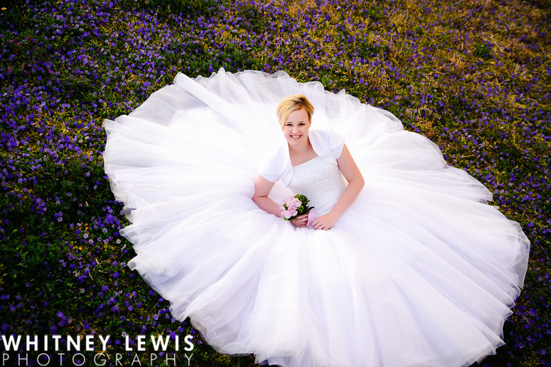 purple flowers, lavender, smiling bride, sitting down