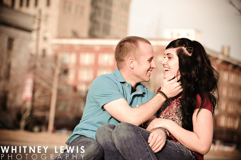 A happy couple, Downtown Skyline