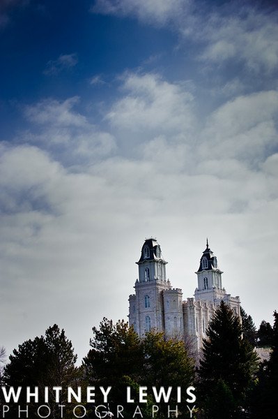Manti Temple, Wedding day, Blue skies