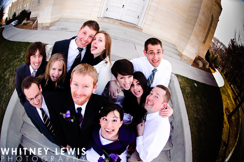 fisheye, making faces, silly group, wedding party